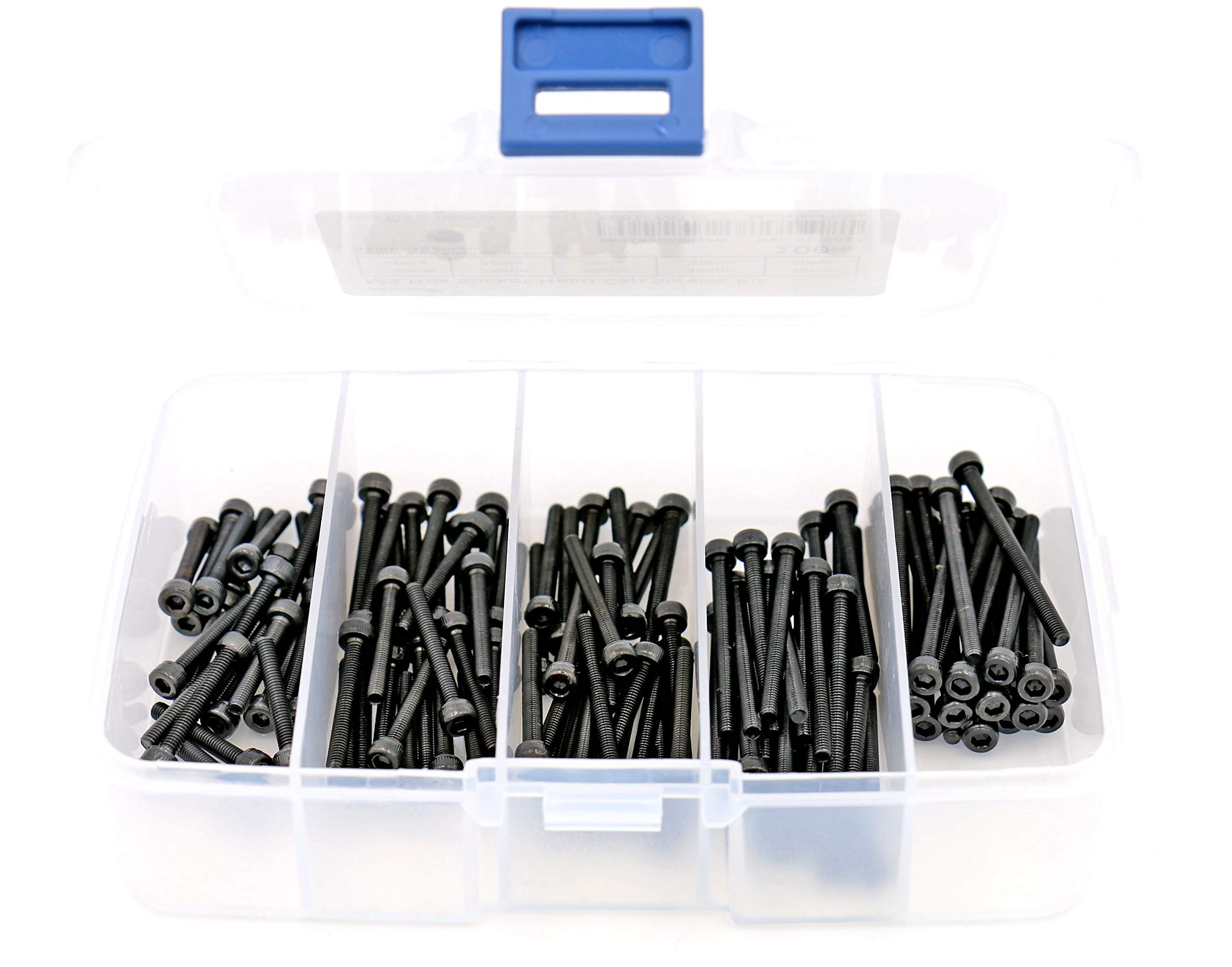 iExcell 100 Pcs 5 Sizes Assortment M3 x 20mm/25mm/30mm/35mm/40mm Hex Socket Head Cap Screws Kit, Alloy Steel Black Oxide Finish, 12.9 Grade, Fully Threaded by iexcell