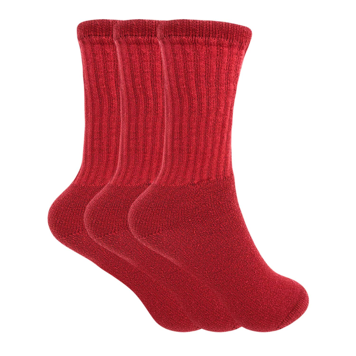 Red 3 Pack Cotton Crew Socks for Women Made in USA Smooth Toe Seam Socks