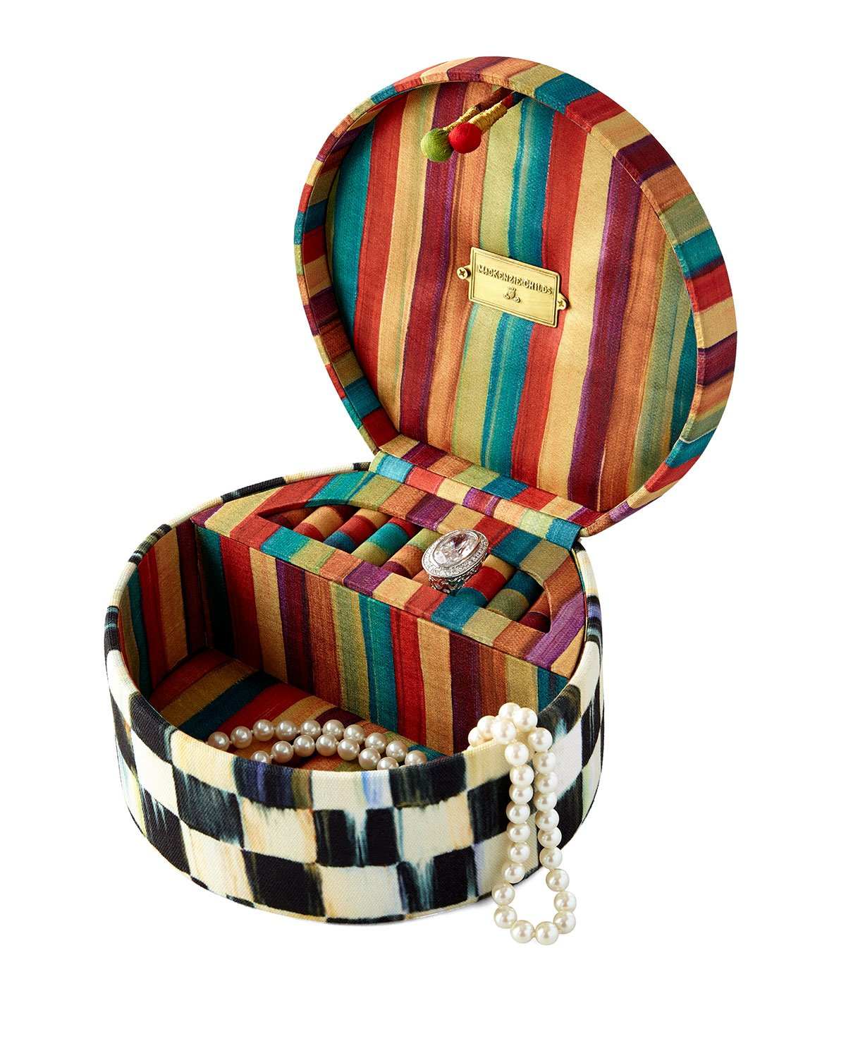 Courtly Check Round Jewelry Box, MULTI COLORS