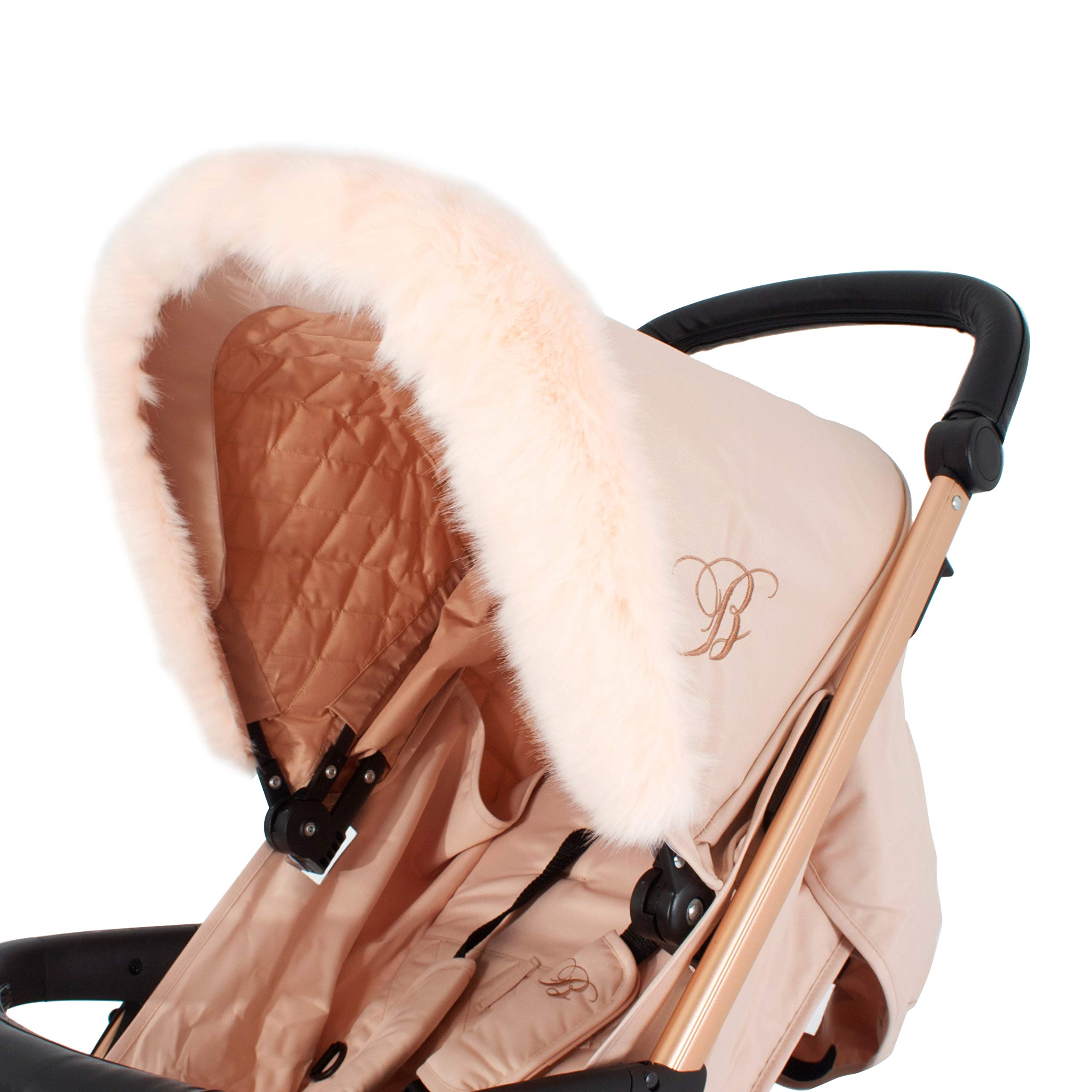 Pink For-Your-Little-One Fur Hood Trim Pram Compatible on My Babiie