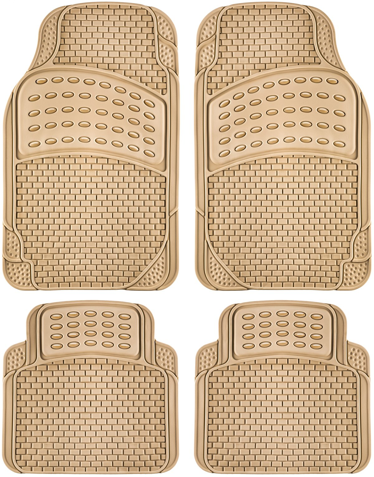 OxGord 4pc Rubber Floor Mats Universal Fit Front Driver Passenger Seat for Car SUV Van and Truck - Brick Style - Beige by OxGord