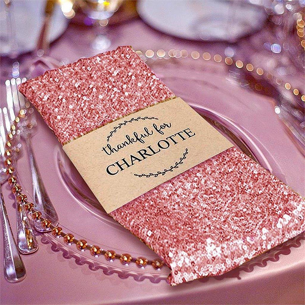 Efavormart 5 PCS Blush Premium 20'' x 20'' Washable Sequin Napkins Great for Wedding Party Restaurant Dinner Parties Decoration