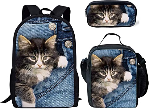 Pet Print School Student Backpack Lunch Bag Set Pen Bags School Bag for Kids
