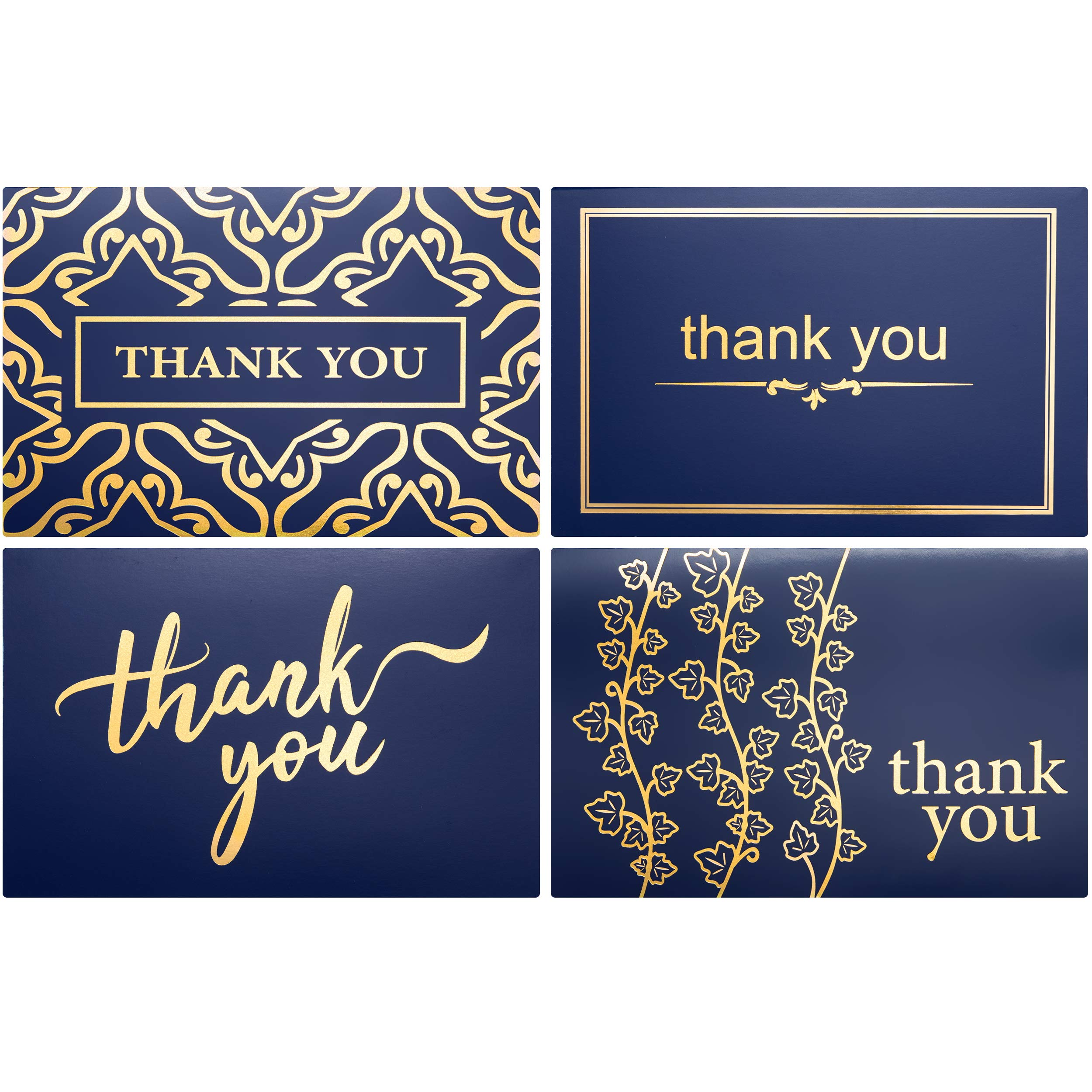 100 Bulk Thank You Cards with Envelopes by Layneria - Gold Foil and Navy Blue card | 4x6 inch Blank notes & white envelope - Perfect for Wedding Business Funeral Graduation Bridal Gift and Baby Shower