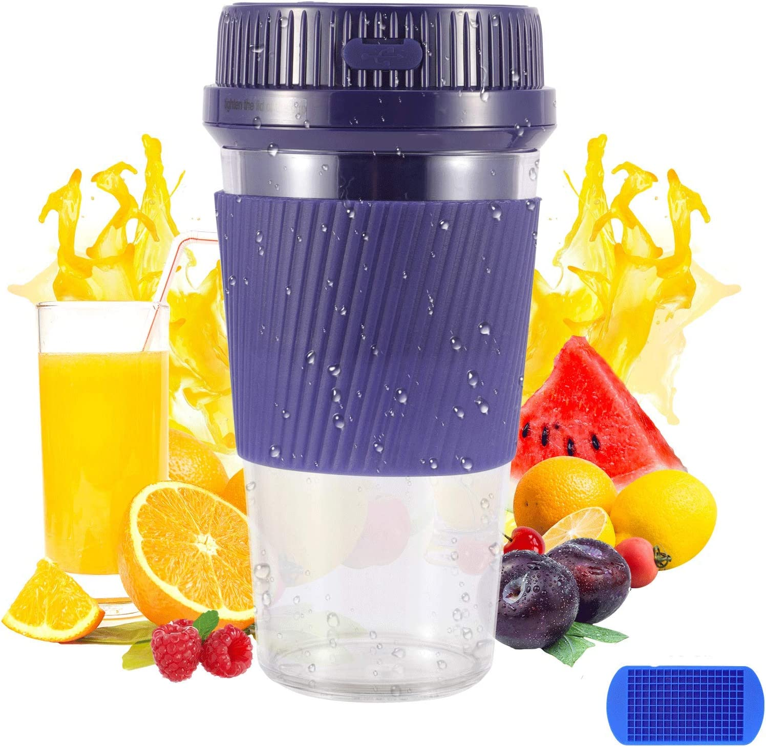 Portable Blender, Mini Blender for Smoothies and Shakes, Personal Blender with Rechargeable USB, Baby Food Maker Made with BPA Free Material, MIYAJOY Small Blender Juicer Cup Smoothies Cup for Kitchen, Office, Sports, Travel, Outdoors. With Ice Cube Tray Gift.