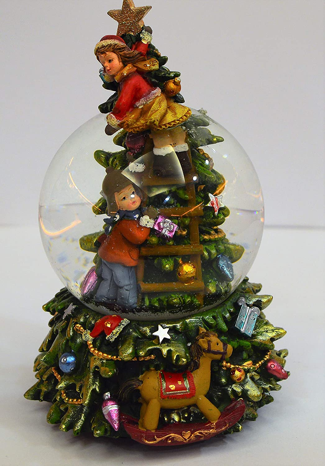 MusicBox Kingdom 56044-Snow Globe Children at The Christmas Tree with The Melody O Christmas Tree