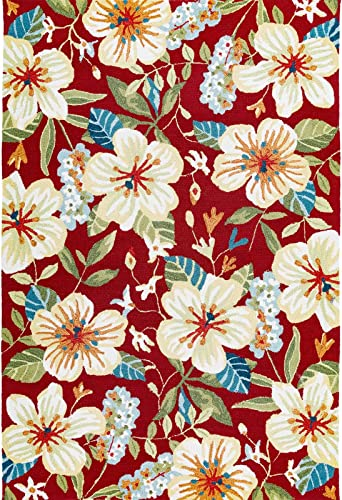 Decomall Florence Multicolor Floral Tile Hand-Hooked Area Rug for Living Room or Bedroom, 8×10 ft, Rust