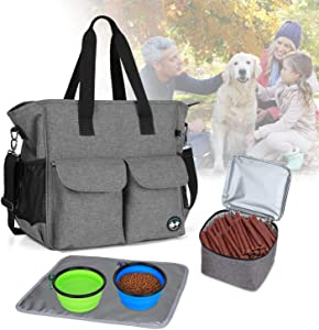 Teamoy Dog Travel Bag, Week Away Dog Supply Tote Bag, Included 2 Silicone Collapsible Bowls, 1 Food Carrier, 1 Water-Resistant Placemat, Gray