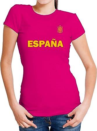 LolaPix Camiseta España Personalizada con tu Nombre y Dorsal | Selección Española | Varios Diseños Tallas | 100% Algodón | Mujer| Rosa: Amazon.es: Hogar