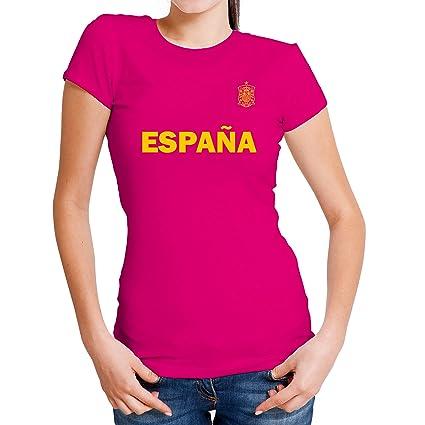 Lolapix Camiseta España Rosa Personalizada con Nombre y número. Camiseta de algodón. Regalo para