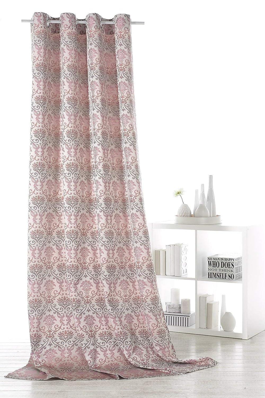 Fashion&Joy Typ359 Rideau à œillets Motif Baroque, Polyester, Rose/Gris, HxB 245 x 140 cm Heimtexland