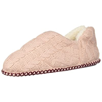 Amazon.com | Dearfoams Women's Quilted Cable Knit Bootie Slipper, Dusty Pink, XL Regular US | Slippers