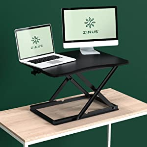 "Zinus Molly Smart Adjust Standing Desk / Height Adjustable Desktop Workstation / 28"" x 21"" /Black"