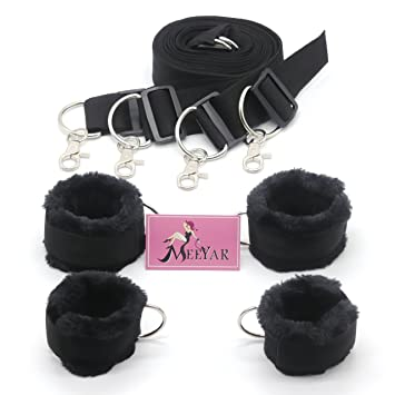 Sexual Wellness Health & Beauty Bed-restraint-system-kit-soft-fur-cuffs-ankle-handcuffs-w/-blindfold-love-belt