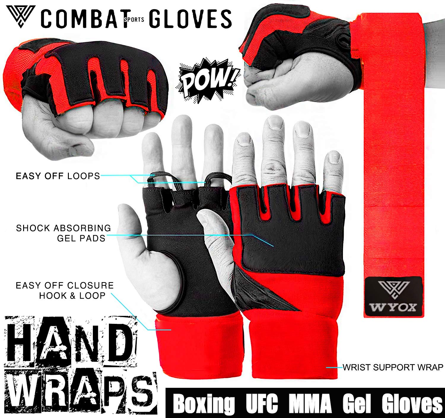 "180/""  Hand Wraps MMA Boxing Hand Wrap Hunter style Cotton Pair"