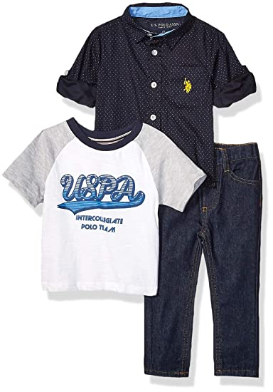Polo Assn Boys Short Sleeve Woven Printed T-Shirt and Jean Set U.S
