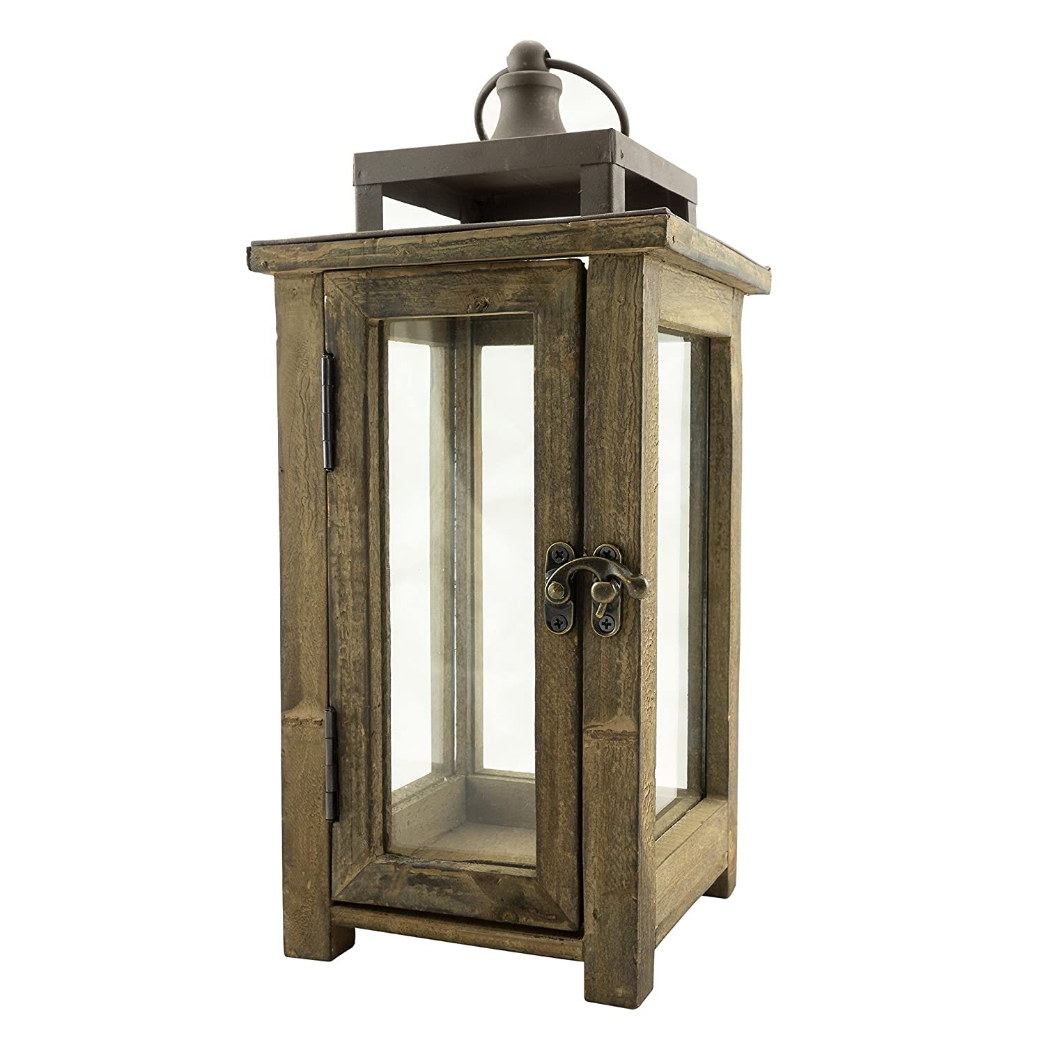 Stonebriar Decorative Wooden Candle Lantern, Use As Decoration for Birthday Parties, a Rustic Wedding Centerpiece, or Create a Relaxing Spa Setting, For Indoor or Outdoor Use, Small CKK Home Dcor SB-4476A