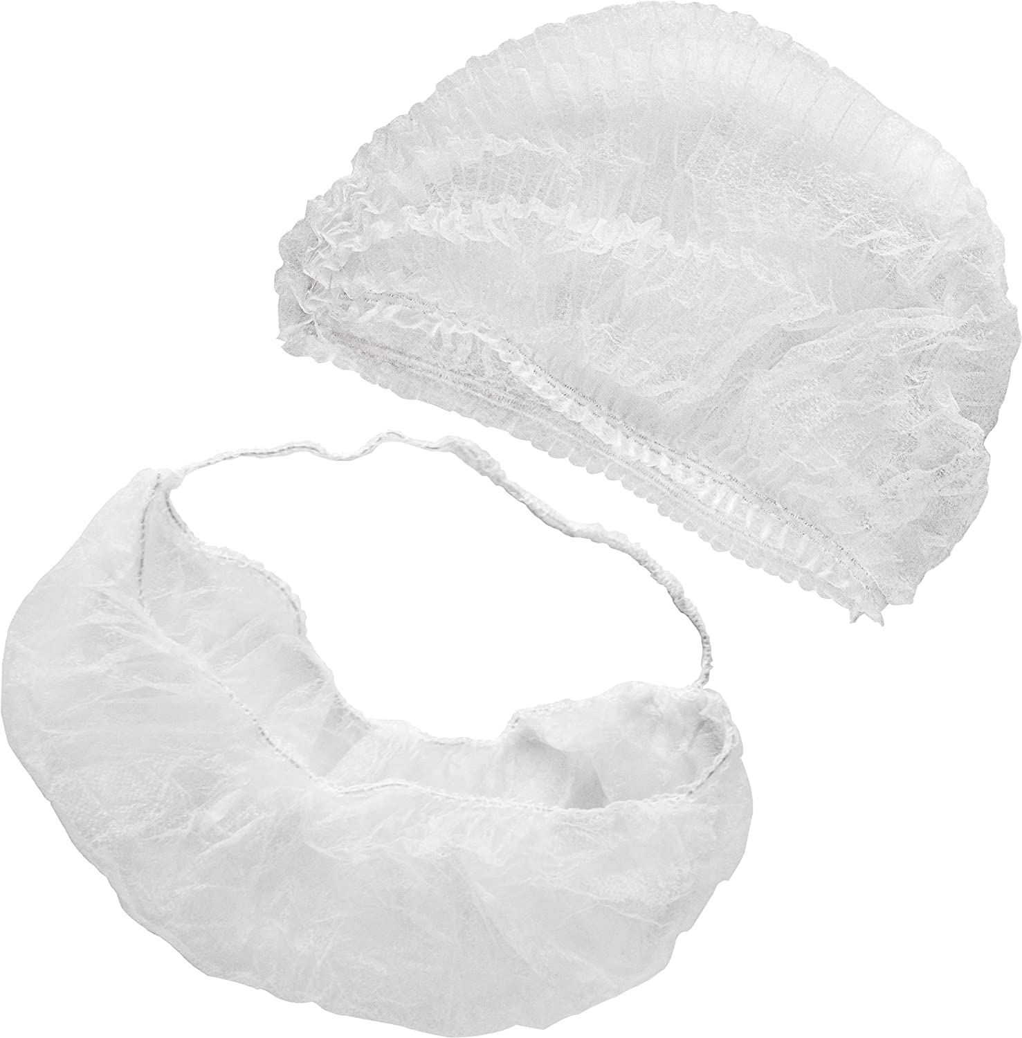 [100 Hairnet and 100 Beard Net Pack] 21 Inch Bouffant Hair Nets and Beard Protector Mask - Disposable White Latex Free Head Cap and Face Cover for Men Women Surgical Hospital, Cooking and Food Service