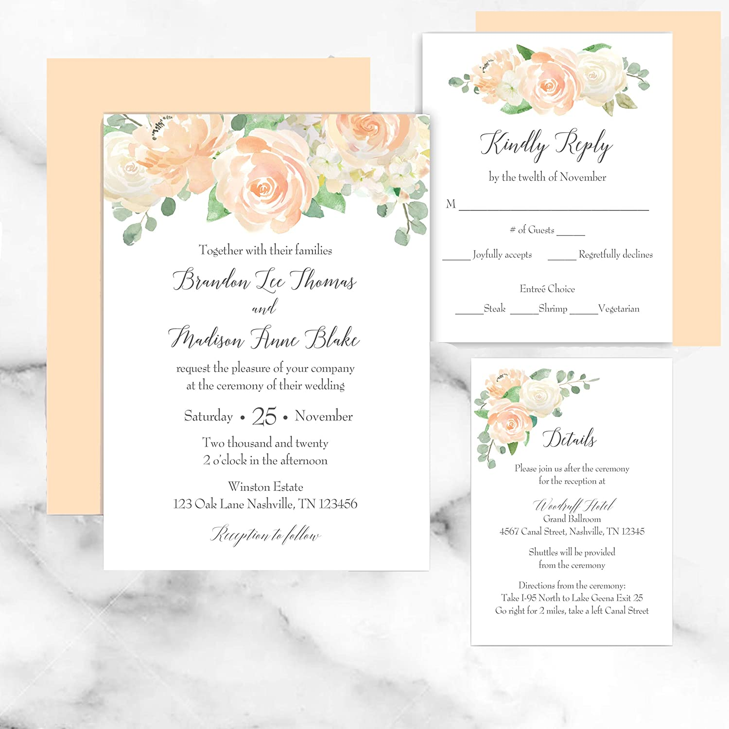 Amazon.com: Peach Floral Wedding Invitation Suite with ANY wording printed  – Peaches and Cream Collection: Handmade