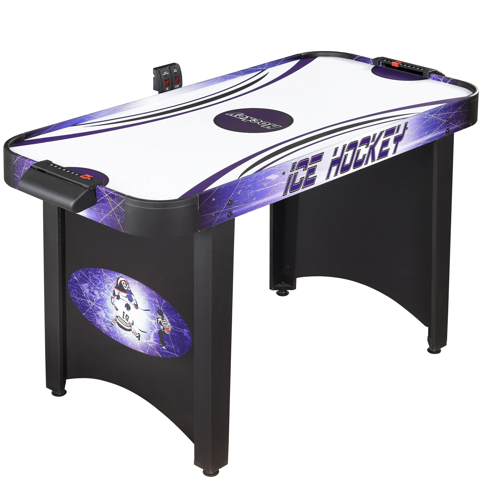 Hathaway Hat Trick 4-Ft Air Hockey Table for Kids and Adults with Electronic and Manual Scoring, Leg Levelers by Hathaway