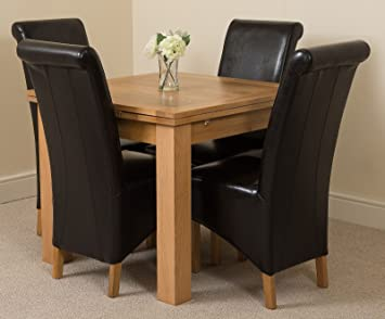 MODERN FURNITURE DIRECT Richmond Small Extending Solid Oak Dining Table 4 Black Leather Chairs 100