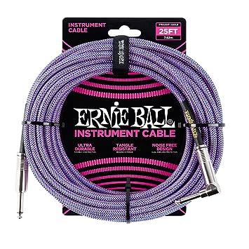 Ernie Ball p06069 geflochten Instrument Kabel, Violett/Blau, 25 ft ...