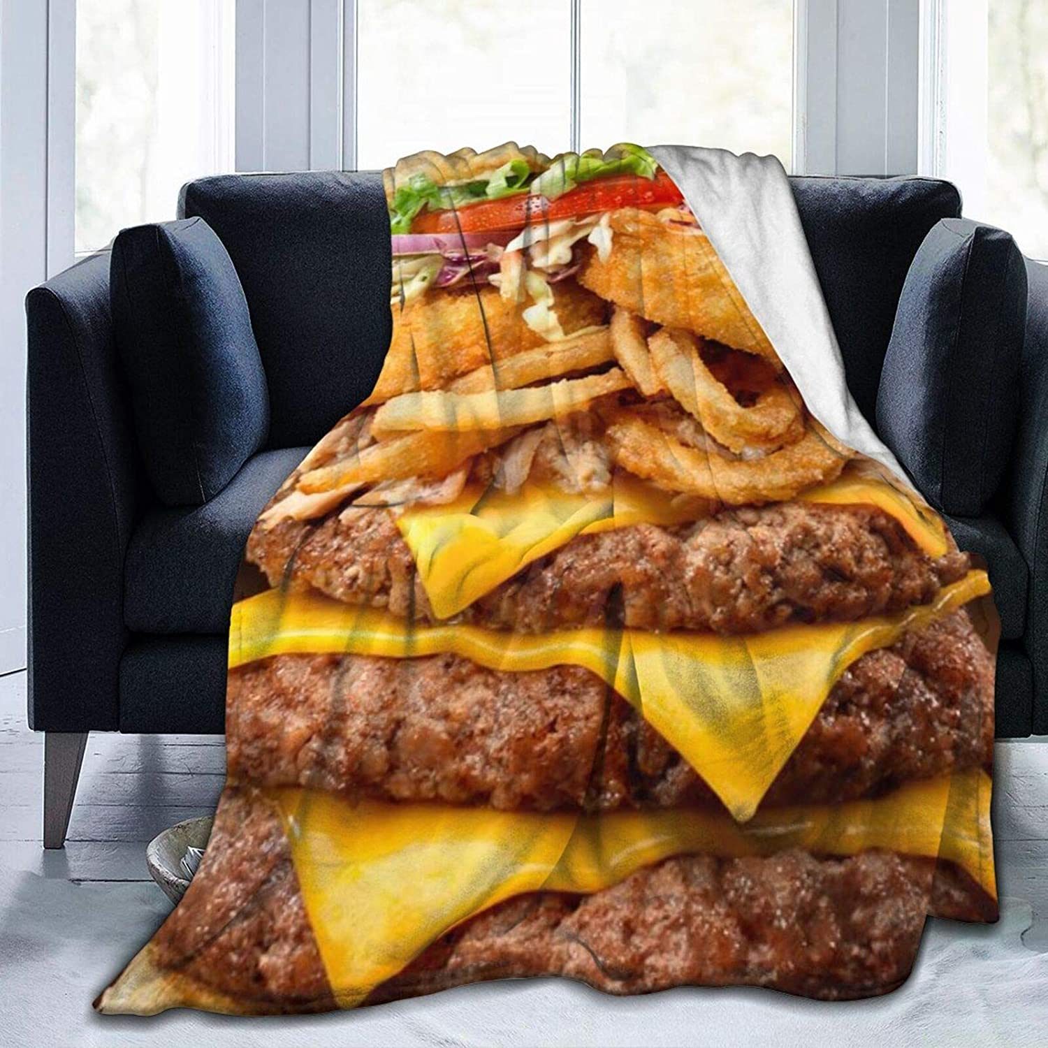 MFULEE Burger Food Retro Throw Blanket Super Soft Hypoallergenic Plush Bed Couch Living Room,Bed Warm for Adults & Kids 3D Print 80