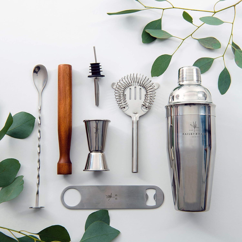 Ensemble de mixage /à cocktail passoire Kit mixologique: grand shaker Manhattan cuill/ère et d/écapsuleur dans une bo/îte cadeau. barre de mesure verseuse muddler