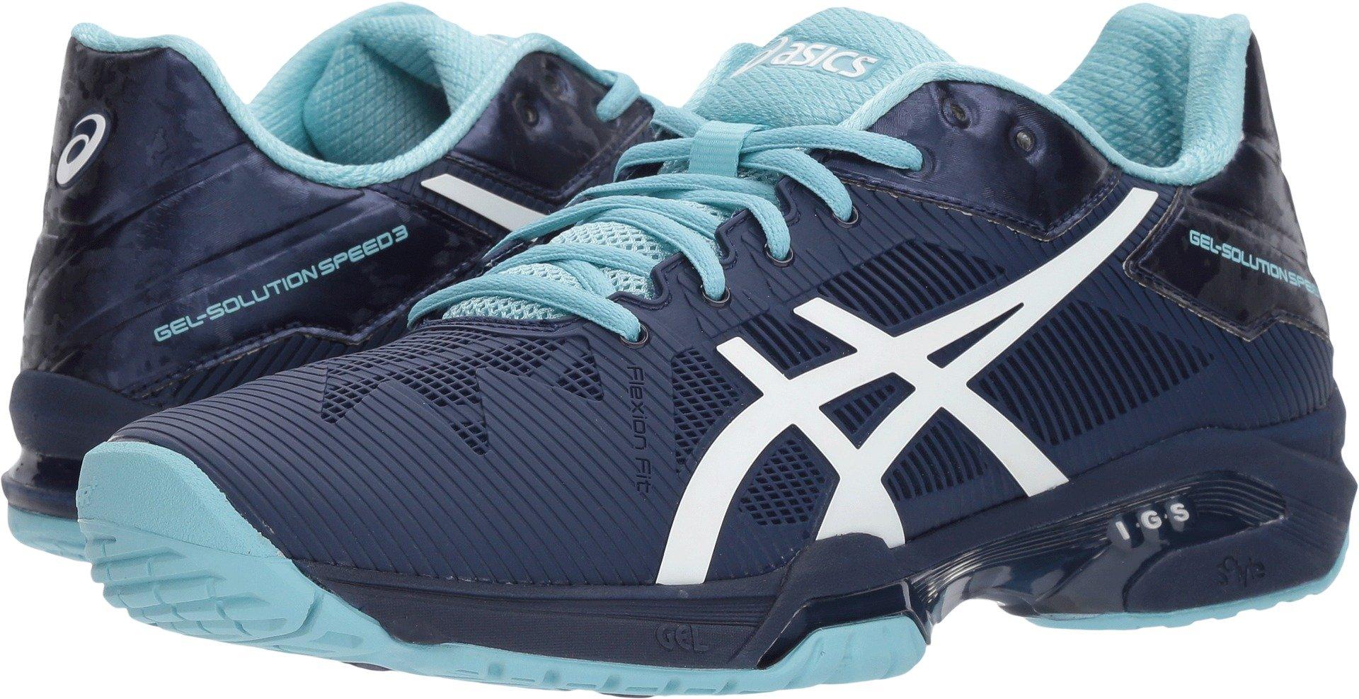 ASICS Womens Gel-Solution Speed 3 Sneaker, Indigo Blue/White/Porcelain Blue, Size 8.5