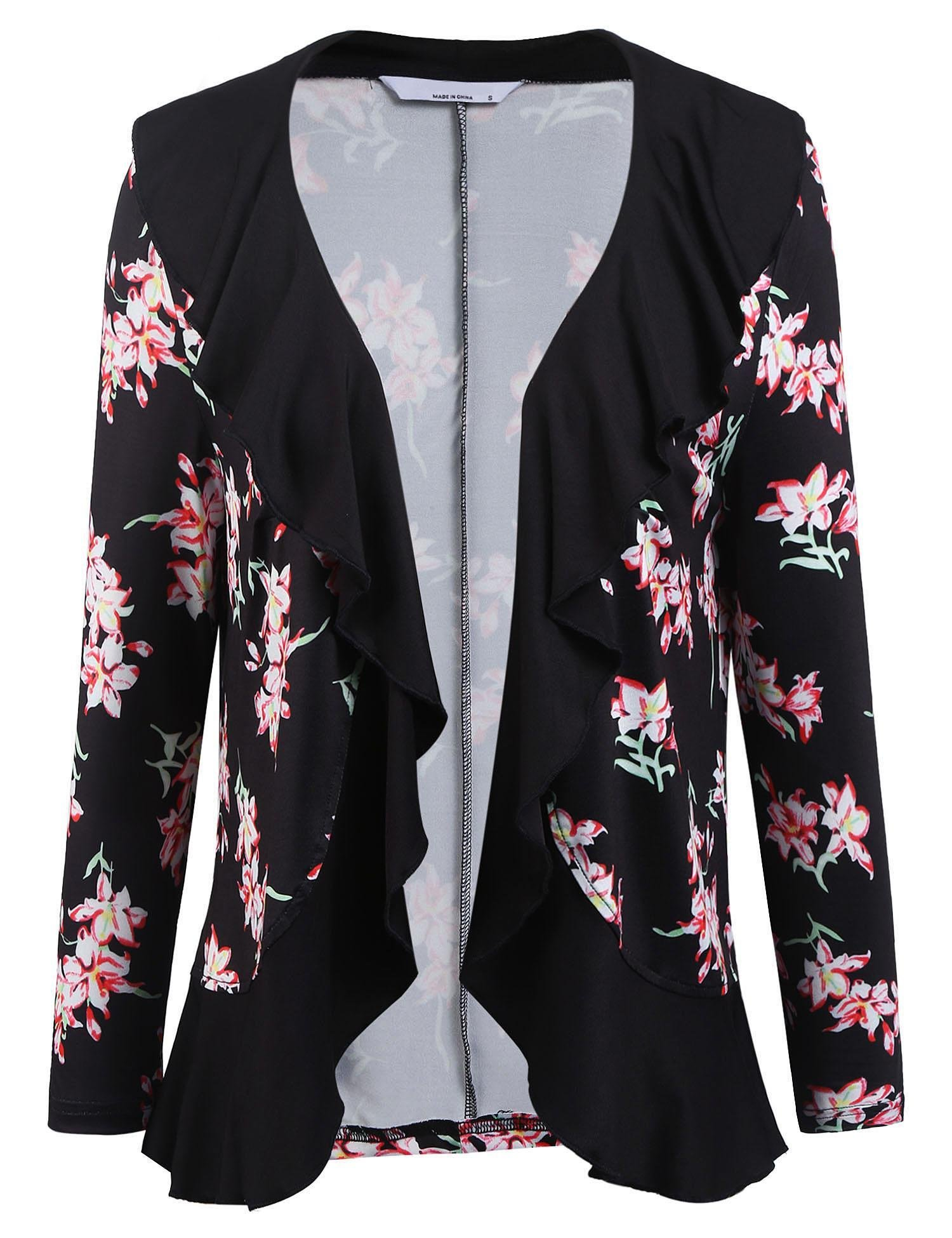 ELESOL Womens Fashion Floral Print Cardigan Long Tops Loose Ruffle Cover Coat Black1/S