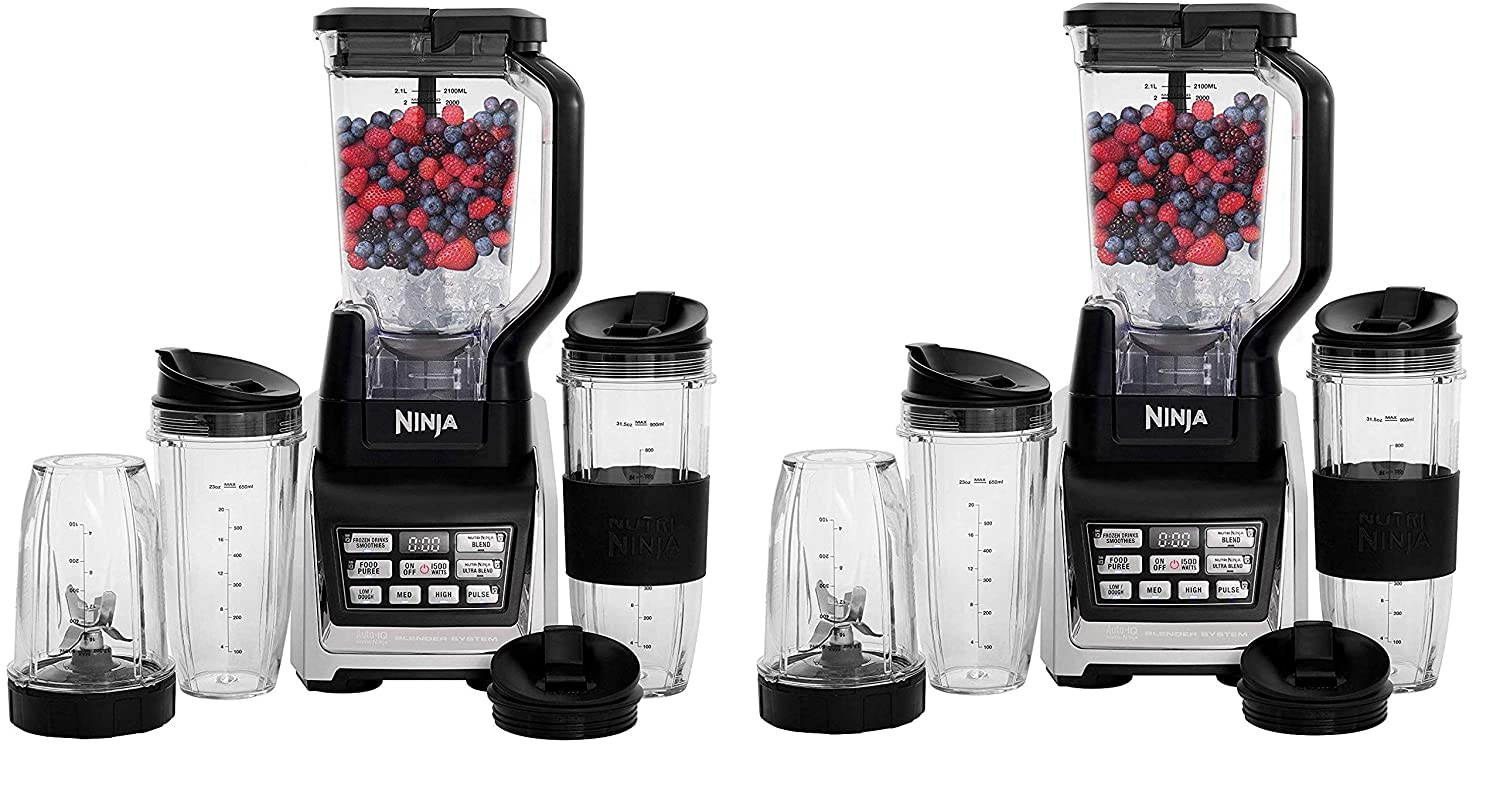 Nutri Ninja Personal and Countertop Blender with 1200-Watt Auto-iQ Base, 72-Ounce Pitcher, and 18, 24, and 32-Ounce Cups with Spout Lids (BL642) (Twо ...