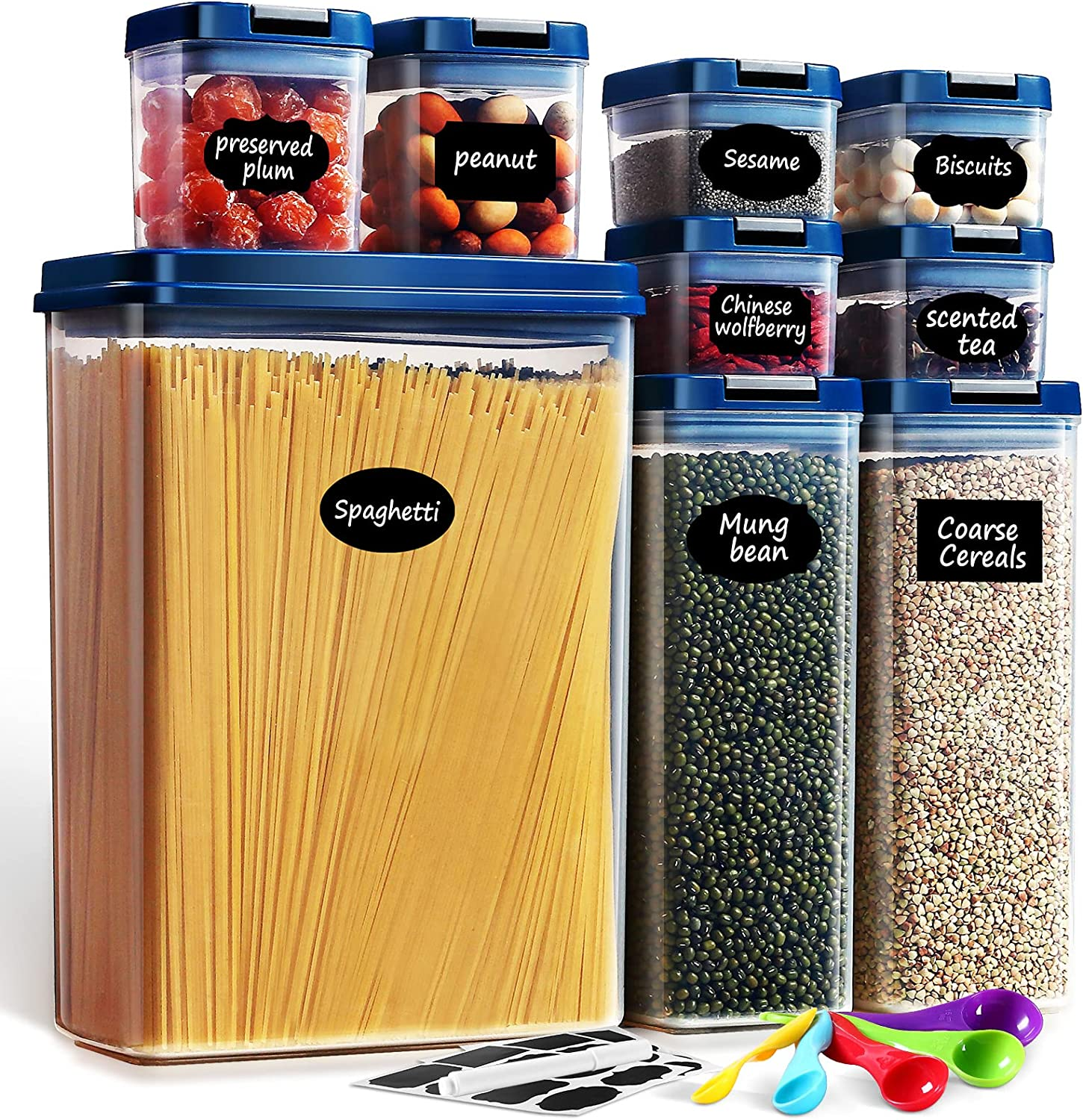 Lockcoo Airtight Food Storage Containers Set, 9PC BPA Free Leakproof Plastic Storage Containers with Lids for Kitchen Pantry Organization, Spaghetti Cereal Flour- Include 24 Labels, Spoon Set& Marker