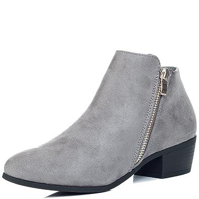 5e6d04f625b SPYLOVEBUY Franky Women's Zipper Block Heel Ankle Boots Pumps