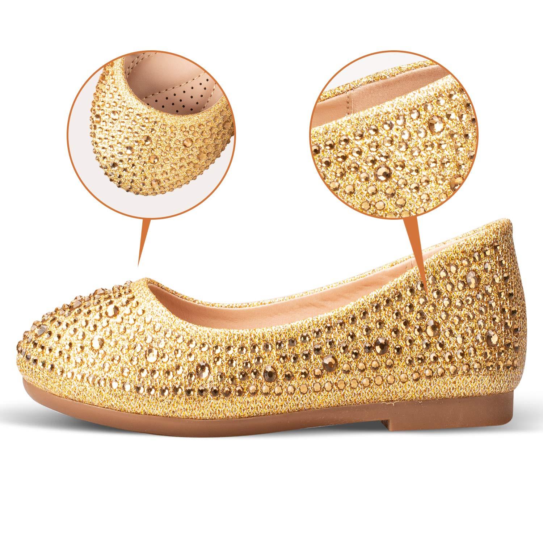ADAMUMU Girls Dress Shoes Ballet Mary Jane Flat Glitter Shoes for Toddler Little Kids Princess Wedding Party