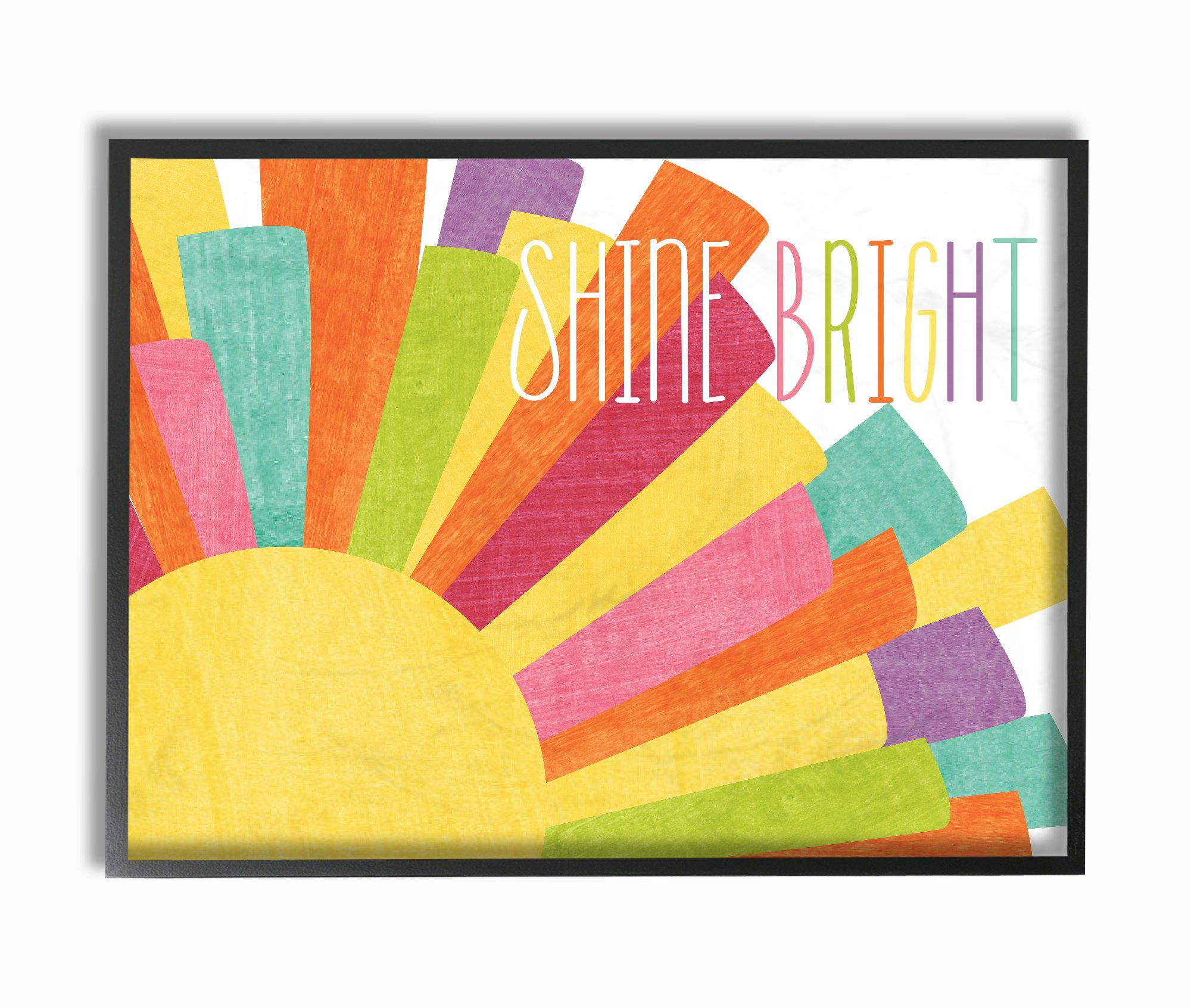 The Kids Room by Stupell Stupell Home Décor Shine Bright Colorful Sun Illustration Oversized Framed Giclee Texturized Art, 16 x 1.5 x 20, Proudly Made in USA