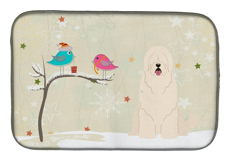 Caroline 's Treasures bb2496ddmクリスマスPresents間Friends South Russian Sheepdogディッシュ乾燥マット、14 x 21、マルチカラー   B07BQDQTCF