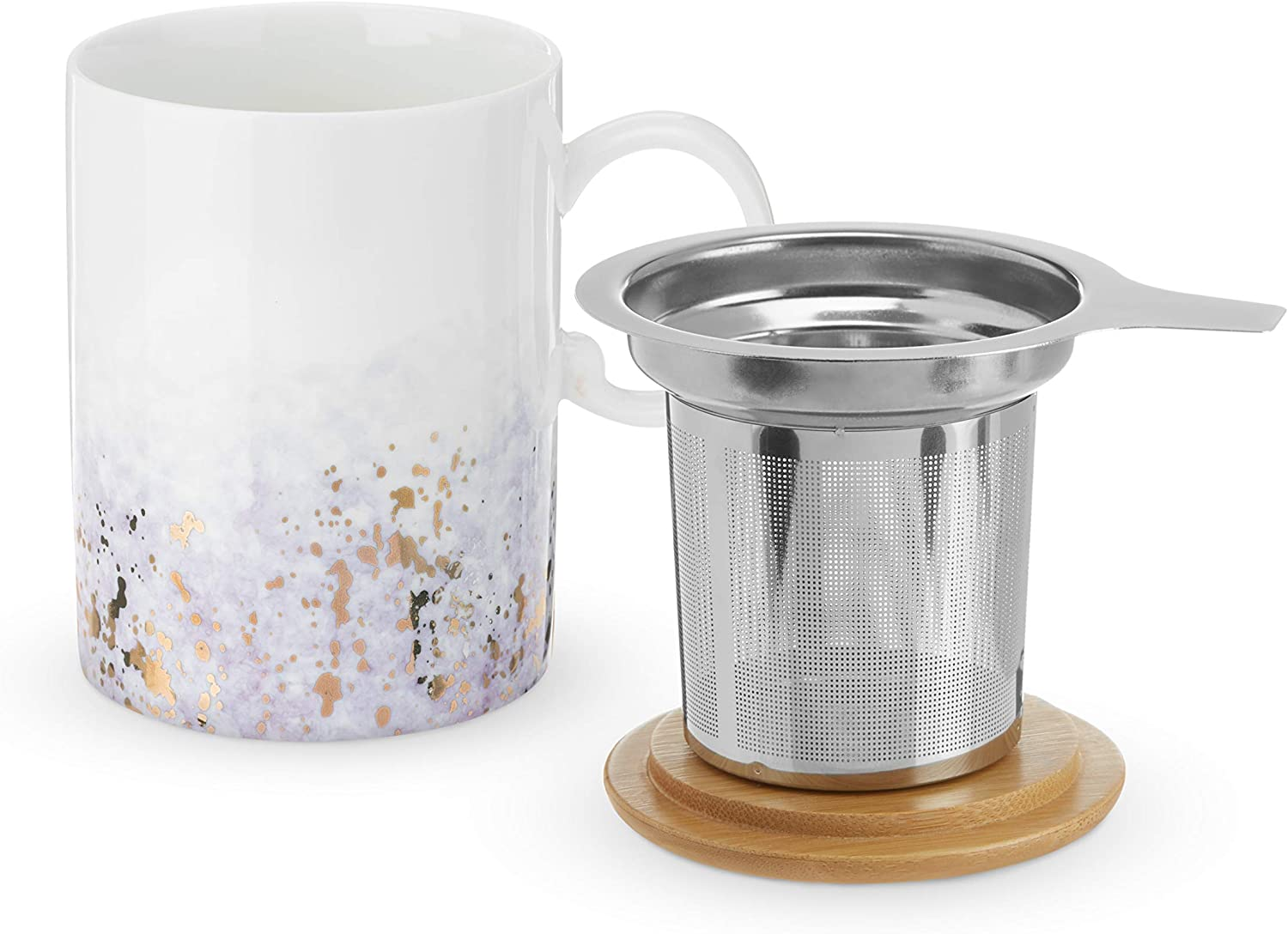 Pinky Up Bennet Purple Ceramic Mug and Infuser Loose Leaf Accessories, Travel Tea Cup