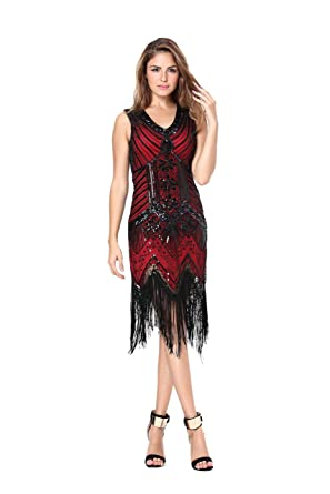 Womens 1920s Sequin Flapper Dress Gatsby Party(XS, Burgundy-Q2) at Amazon Womens Clothing store: