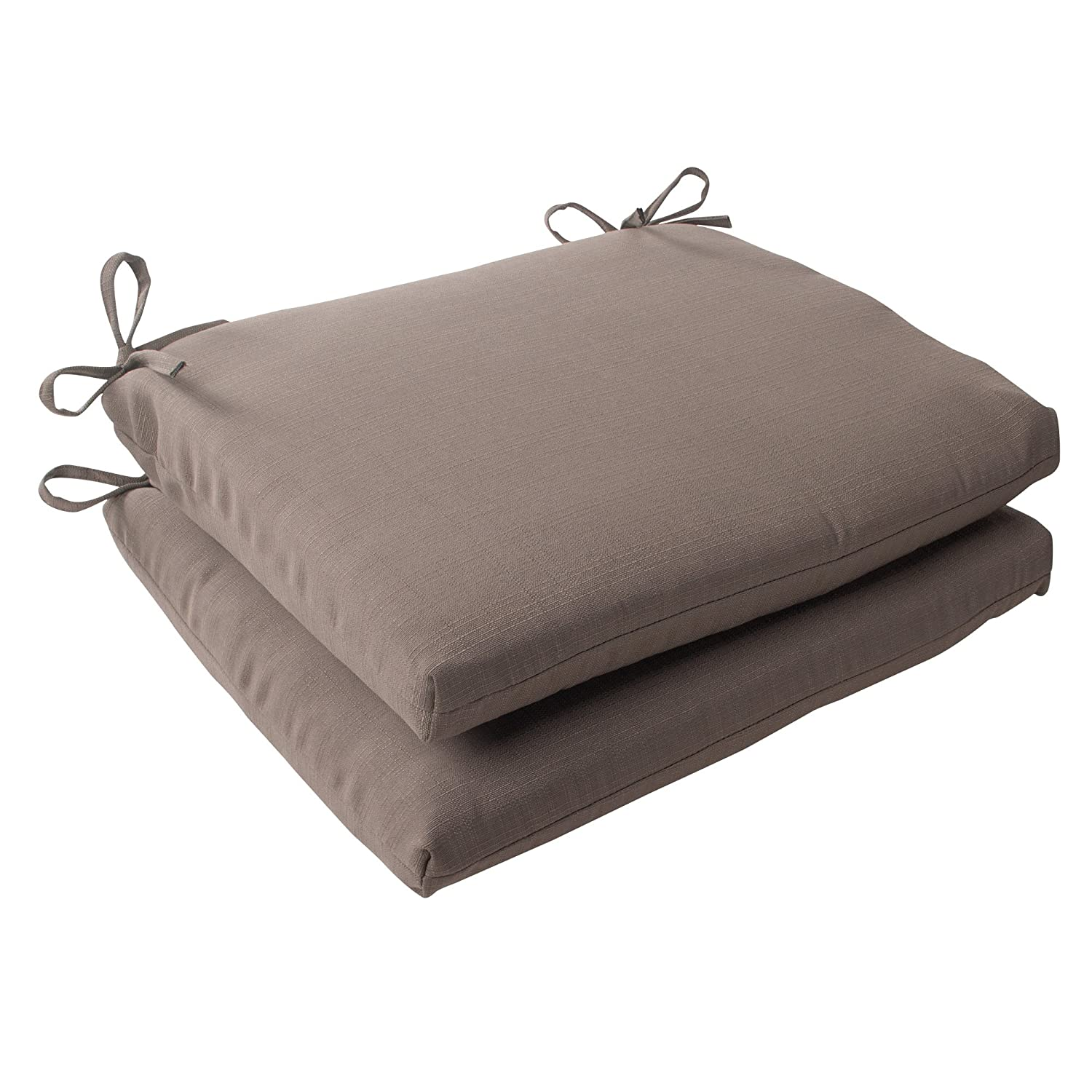 Pillow Perfect Indoor Outdoor Forsyth Squared Seat Cushion, Taupe, Set of 2