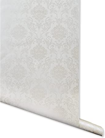 Metallic Imprint Off White Damask Wallpaper For Walls Double