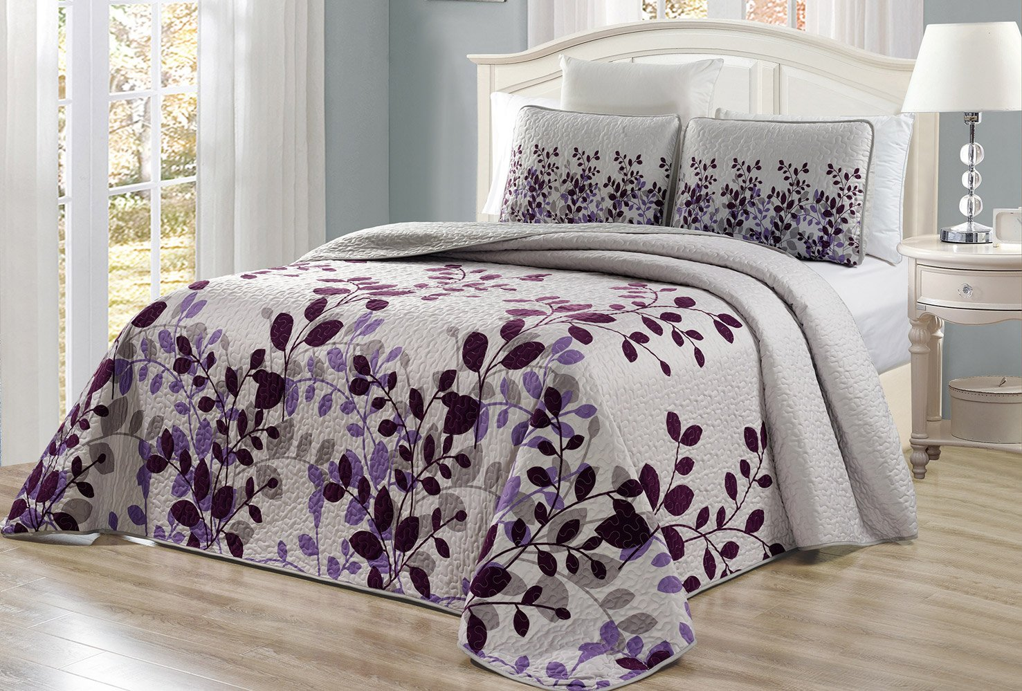 "3-Piece Fine printed Oversize (100"" X 95"") Fresca Quilt Set Reversible Bedspread Coverlet FULL / QUEEN SIZE Bed Cover (Purple, Grey, Viney)"