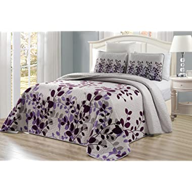 3-Piece Fine printed Oversize (115  X 95 ) Fresca Quilt Set Reversible Bedspread Coverlet KING / CAL KING SIZE Bed Cover (Purple, Grey, Vine)