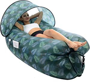 STEPIN Inflatable Lounger Air Sofa with Sunshade & Anti-Air Leaking Design,Best Inflatable Chairs for Beach Chair Camping Chair,Perfect Inflatable Couch for Camping Hiking Picnics Festivals