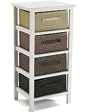 Versa 20100011 Cajonera baño multicolor 4 cestas, Madera 73x28x37,Cajón cestos