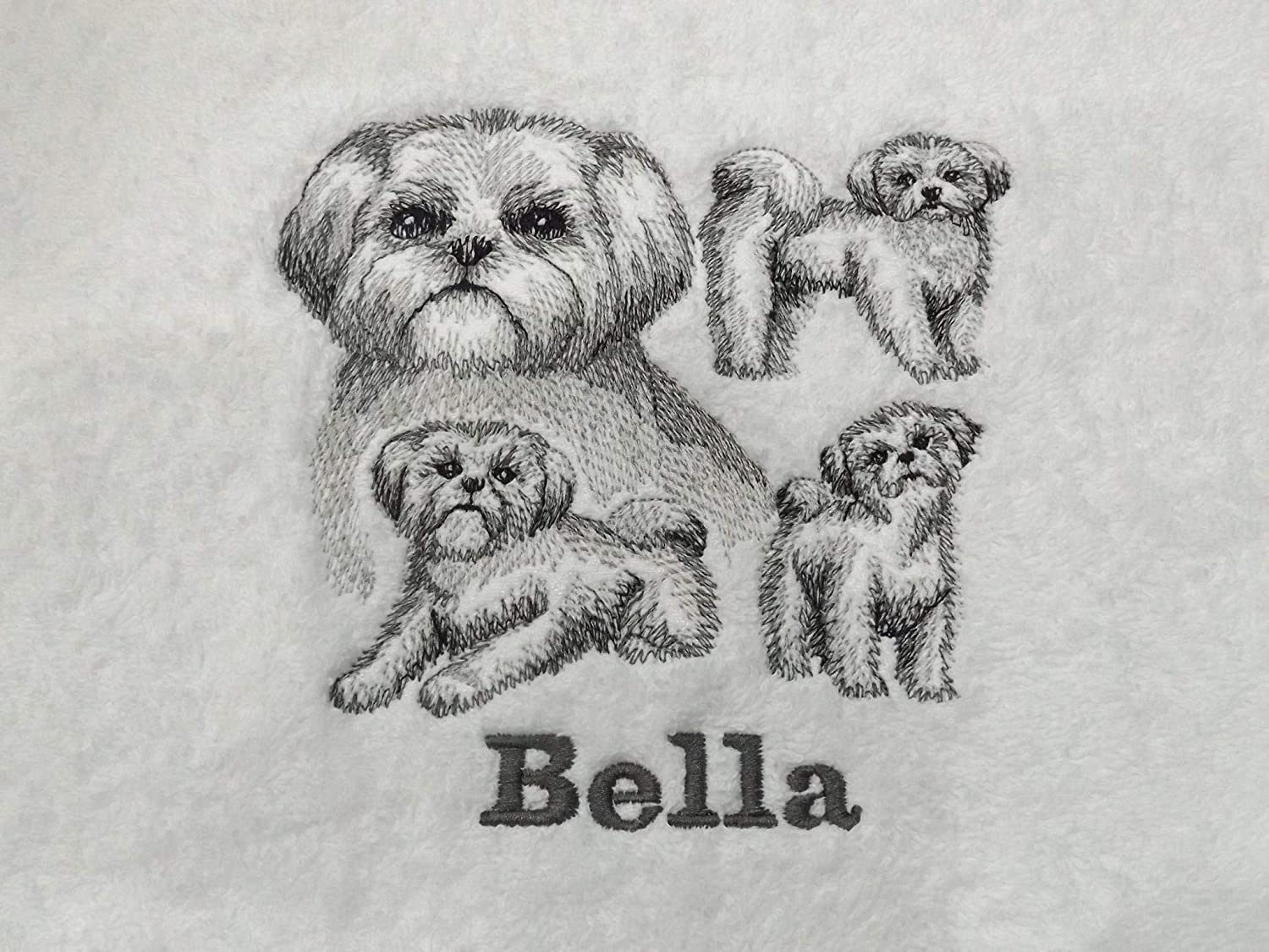 Embroidered Shih Tzu Dog Bathroom Hand Towel Personalised Gift