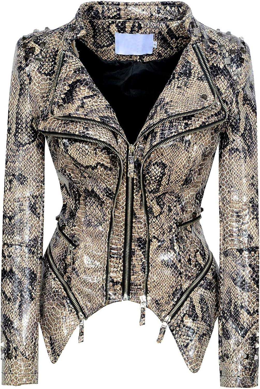 chouyatou Women's Fashion Snake Pattern Print Studded Moto Pu Leather Biker Jacket