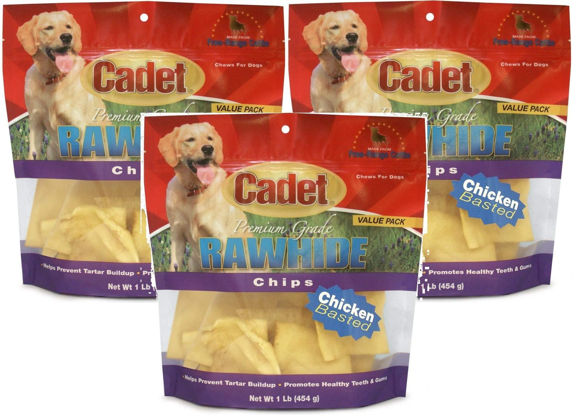 Cadet 3 Pack of Premium Grade Rawhide Chips, 1 Pound each, Chicken Basted