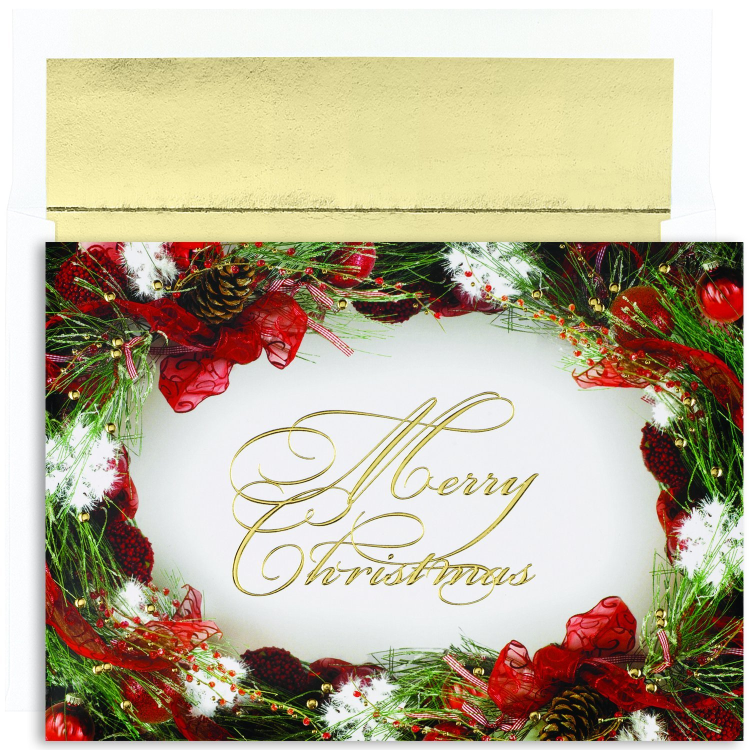 Amazon masterpiece studios holiday collection boxed christmas amazon masterpiece studios holiday collection boxed christmas cards wreath border 18 cards18 foil lined envelopes office products kristyandbryce Image collections