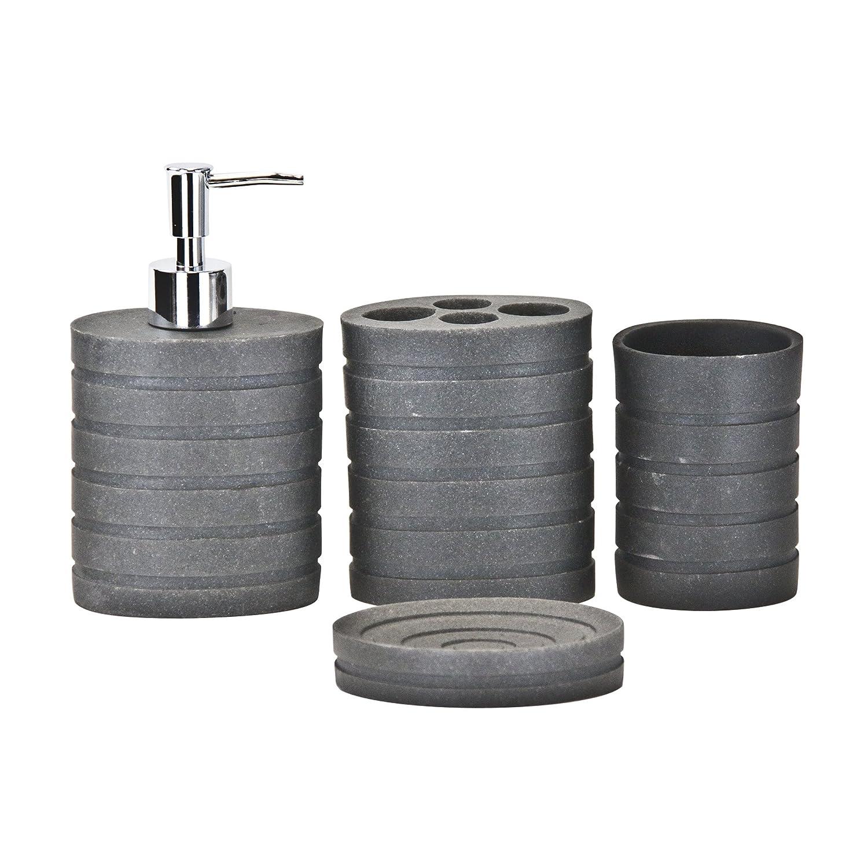4pc Bathroom Accessories Set - Toothbrush Holder, Soap Dish, Soap/Lotion Dispenser, Tumbler, Dark Grey SQ Professional