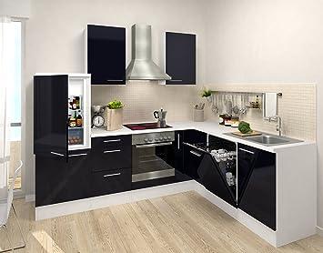 respekta Cocina vacíos de Bloque Premium L de Cocina 260 x 200 cm Cuerpo Blanco Frente de Color Negro Brillante: Amazon.es: Hogar